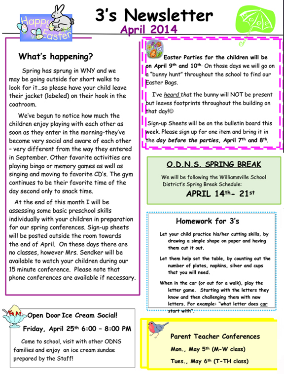 3'S April 2014 Newsletter | Open Door Nursery School