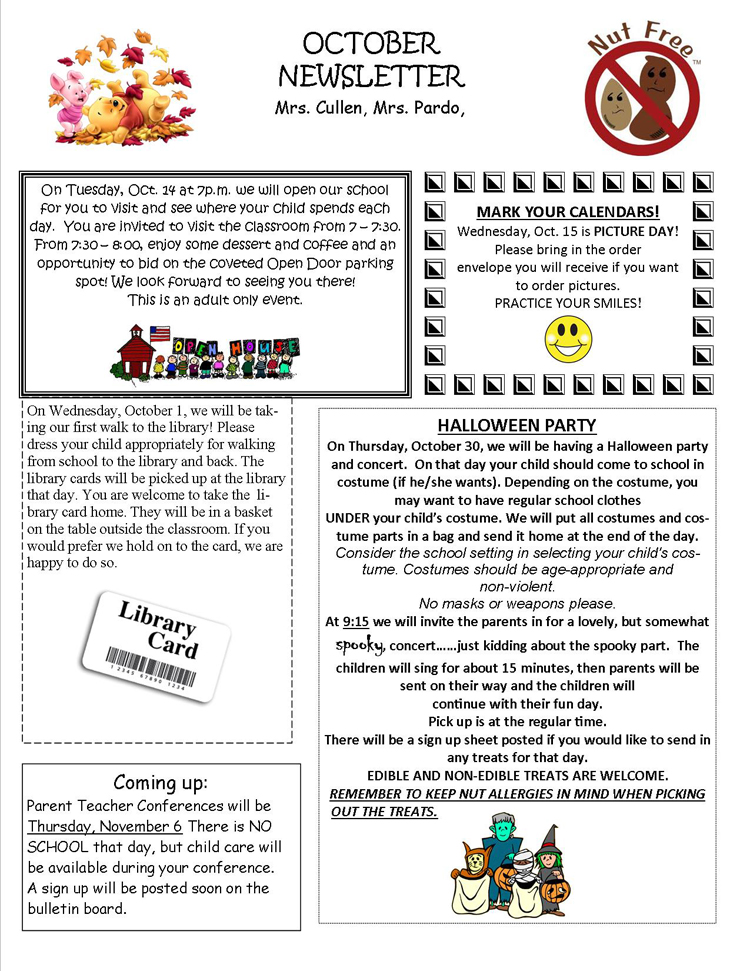 4'S October Newsletter | Open Door Nursery School