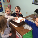 "We brought in some snow to play with in our science center! We learned that it melted, and now we are ""watching"" it evaporate."